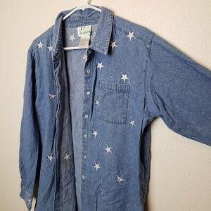 The Quacker Factory Embroidered Star Button Up Top